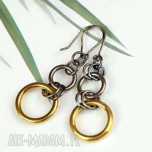 srebrne kolczyki ze złotym kołem a613, rockowe kolczyki, złoto