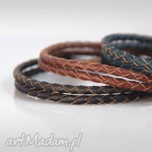 handmade męska brąz:: bransoletka: skóra
