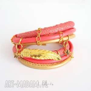 bransoletka - piórko, owijana złota, różowa, bransoletka, rzemienie