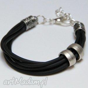 bransoletki czarna bransoletka z linki kauczukowej elementami metalowymi, prezent
