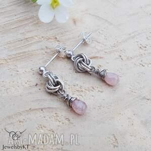 różowe kropelki rubinu - kolczyki, srebrne delikatne kolczyki