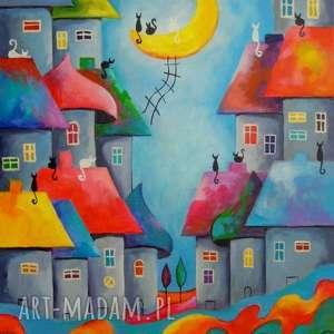 Obraz na płótnie - BAJKOWE MIASTECZKO 40/50 cm, bajka, koty, akryl, miasteczko, obraz