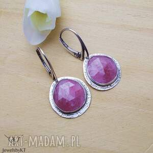rubinowy róż - kolczyki, srebrne efektowne elegancka