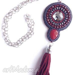 ręcznie robione naszyjniki burgund - naszyjnik, haft koralikowy