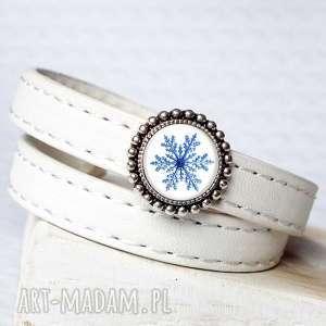 bransoletki owijana bransoletka śnieżynka, zima, skóra, podwójnie, święta, świąteczny