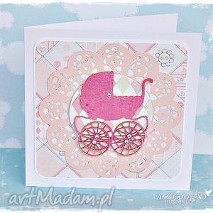 ręczne wykonanie scrapbooking kartki kartka z okazji chrztu/narodzin dla dziewczynki