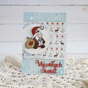 pod choinkę prezent, kartka z mikołajkiem, boże-narodzenie, kartka-świąteczna