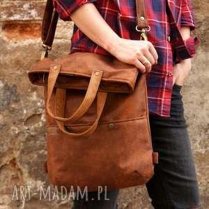 3w1 plecako - torba koniak vegan, torebka zamszowa, nubuk