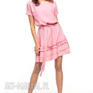 Sukienka z ozdobną falbanką na spódnicy, T267, różowy, elegancka, sukienka