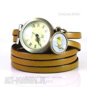 Prezent Bransoletka, zegarek - Ptaszek musztardowy, skórzany, bransoletka,