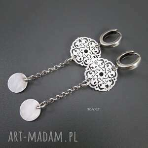 Ażurowe na biglu, srebro, kolczyki