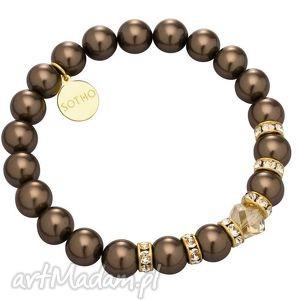 brązowa bransoletka perły brown złoty kryształy