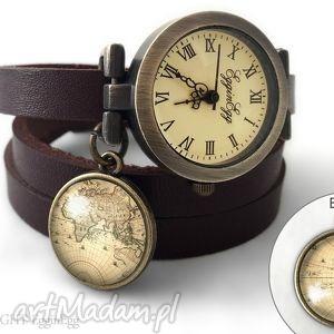 ręczne wykonanie zegarki zegarek z dwustronną zawieszką - mapa świata 0196swdb