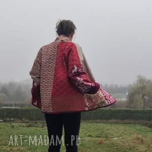 płaszcz patchworkowy w stylu boho, krótki z kieszeniami, kimonowy - waciak, boho