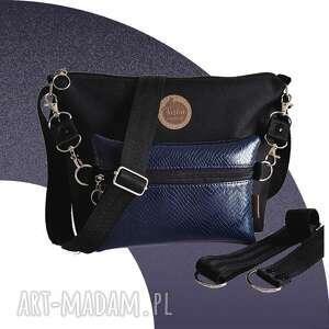 handmade mini torebka modułowa black 4w1 - navy snake