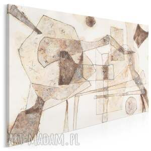 obraz na płótnie - abstrakcja kształty brązy beże 120x80 cm 701801