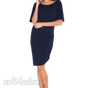 Sukienka P_3 granat, sukienka, wygodna, elegancka, drseówka