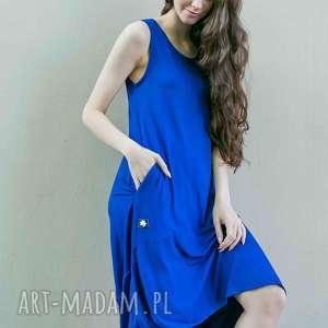 sukienka rustykalna falbana kobalt, sukienka, narzutki, bluzy, spodnie