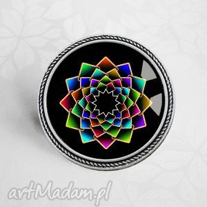 kolorowa mandala piękna broszka - barwna, kolorowe, mandale, okrągla, koło