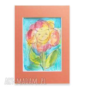 Kwiatuszek obrazek, rysunek do dziecięcego pokoju, ręcznie malowany