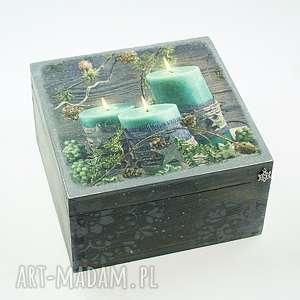 ręcznie robione prezent pod choinkę szkatułka drewniana - magiczny