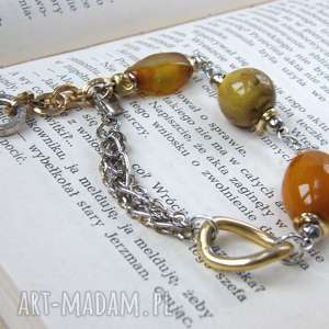 bransoletka złoto-srebrna z agatami, różnorodna, boho, agatem, srebrno złota