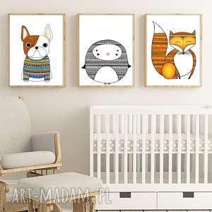 Zestaw 3 prac A3, plakat, plakaty, obrazek, ilustracja, zwierzęta