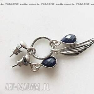 srebro, kolczyki - lapis lazuli