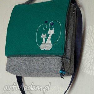 Prezent Filcowa torba - Zakochane Koty, torebka, koty, torba, modna, prezent