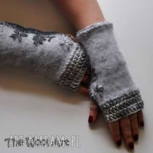 rękawiczki mitenki - rękawiczki, mitenki, wełniane, prezent, szydełkowe
