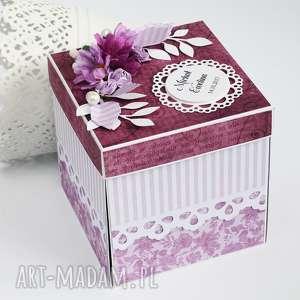 Exploding box ślubny - w fiolecie, exploding, box, kartka, życzenia, ślub