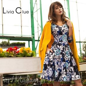 sukienka luna i midi abigail , sukienka, kwiaty, midi, wzory, rozkloszowana, granat