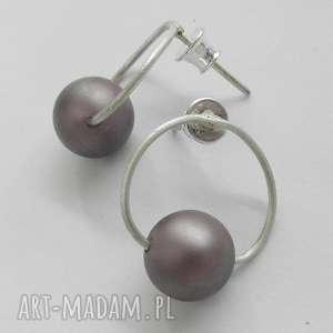 OKRĄG kolczyki, srebro, perła