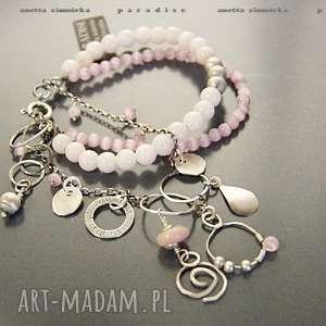 ręcznie wykonane srebro, bransoletka w pastelach różu