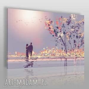 obraz na płótnie - para drzewo romantyczny 120x80 cm 78901, para, miłość