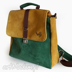 plecak teczka żółto-zielona, plecak, torba, teczka, zamsz, skórzana, oldschool