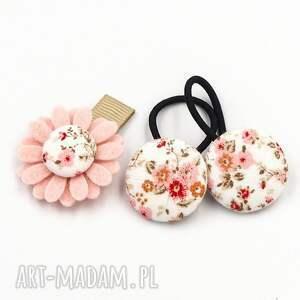 momilio art komplet kwiatek i gumeczki florence pink, do włosów
