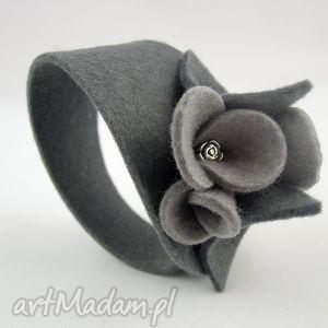 bransoletka filcowa - dwa odcienie szarości, filc, bransoletka, bransoleta