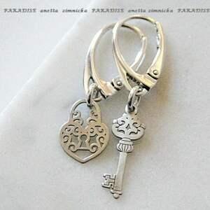 srebro kolczyki, srebrna intryga ii, srebro, zawieszki, kluczyk, kłódka