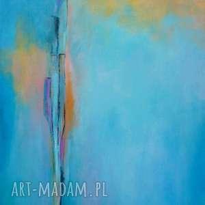 obraz na płótnie - abstrakcja w turkusach ii 30/40 cm, abstrakcja, pomarańcz
