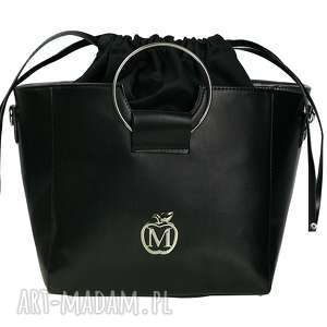 ręcznie zrobione do ręki torebka manzana z kółkiem i ściąganym workiem czarna klasyczna
