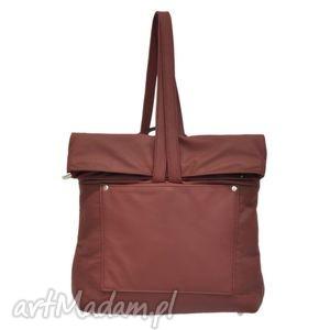 29-0001 bordowa torebka plecak damski do szkoły swan, modne, damskie, plecaki