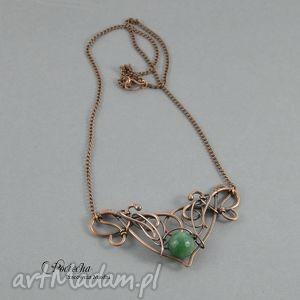 Jean - naszyjnik w zieleni z agatem, naszyjnik, miedź, retro, agat, secesja