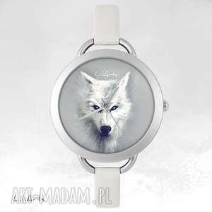 zegarek, bransoletka - biały wilk, bransoletka, skórzana, etniczny