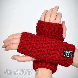 LaCzapaKabra - rękawiczki 10 - czerwone - mitenki, upominki, zestaw komplet, prezent