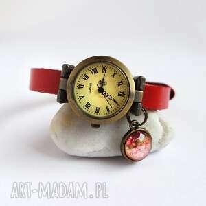 zegarek - kwiaty skórzany, czerwony, zegarek, bransoleta