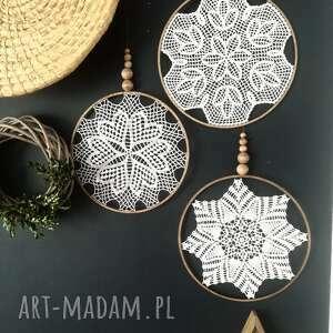 3 x łapacz snów, lapacz snow, łapacz, koronka, makrama, dekoracja scienna, koło