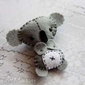 smutny koala - koala, miś, broszka, filc, prezent