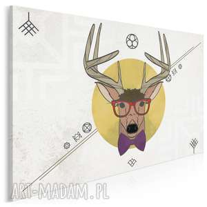 obraz na płótnie - jeleń hipster 120x80 cm 40401, hipsterski