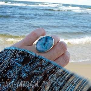 druzy seashell ring, srebro, boho, surowy, morski, okazały, muszla